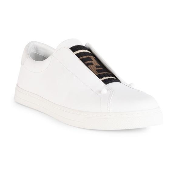 Iso Fendi Rockoclick White Leather Slip